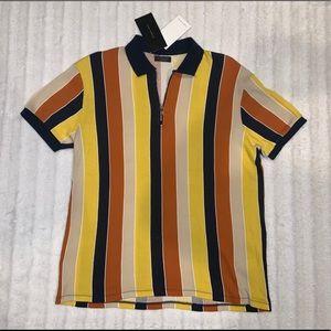 ZARA MAN Multi-Color Vertical Stripes Polo XL NWT